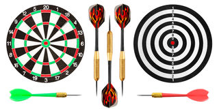 Dart board and darts on white background Royalty Free Stock Photos