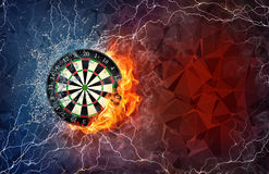 Dart board in fire and water. Dart board on fire and water with lightening around on abstract polygonal background. Horizontal layout with text space Royalty Free Stock Images