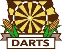 Dart Board Iowa State Map Corn Retro Stock Photos