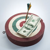Dart board. On white background with money Stock Image