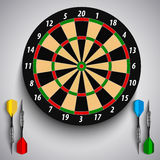 Dart boards with colored steel darts template. Vector eps 10 vector illustration
