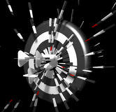 Dart Bomb. Three 3D darts hitting the dart board and breaking through it Stock Photography