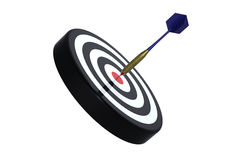 Dart on bull's eye. Of a dartboard isolated on white Stock Image