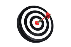 Dart on bull's eye. Of a dartboard isolated on white Royalty Free Stock Photo