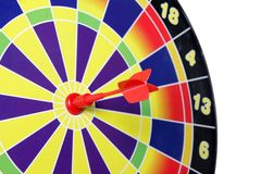 Dart on bullseye Royalty Free Stock Photos