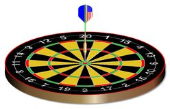 Bullseye Dart Board On White. A dart in the bullseye of a dartsboard royalty free illustration