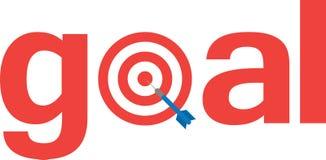 Dart on bullseye with text goal. Blue vector dart on red bullseye target text goal Royalty Free Stock Photography