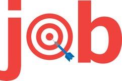 Dart on bullseye with text job Royalty Free Stock Photos