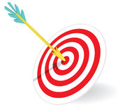 Dart in the center of a dartboard. Vector illustration Stock Photos
