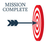 A dart is in the center of a dartboard. Target concept. mission complete, business concept. Royalty Free Stock Photos