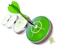 Dart. 3D illustration of an green dart Stock Images
