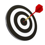 Dart and Dartboard. Red dart struck directly in center of target. Includes clipping path royalty free stock photos