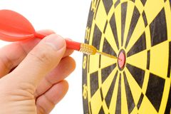 A dart on a dartboard Royalty Free Stock Images