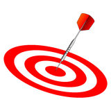 Dart on dartboard center Royalty Free Stock Photography