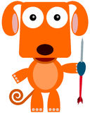 Dart dog. A cartoon illustration of a dog holding a huge dart royalty free illustration