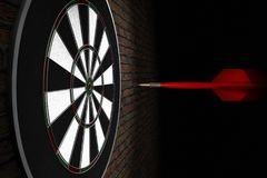 A dart flying straight to bullseye Royalty Free Stock Photos