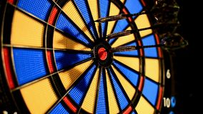 Dart game side Slow Motion stock video footage