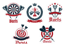 Dart game tournament icons and symbols Royalty Free Stock Photos