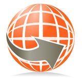 The dart globe. The globe icon with dart around the Earth Stock Illustration