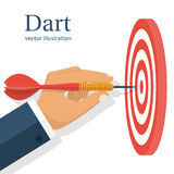 Dart in hand. Vector. Illustration flat design. Isolated on white background. Throwing dart. Accurate throw. Achieving the goal. Concept of success stock illustration