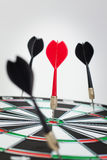 Dart hit the centre of target Stock Photography