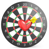 Dart hit the heart in the center of datrboad Royalty Free Stock Images