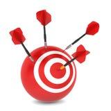 Dart hits aim. 3d illustration on white background Stock Images