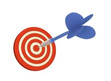 Dart hits Board Center. Blue Arrow lands a direct hit on dartboard 3D rendered (isolated on White Background Royalty Free Stock Photo