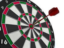 Dart hits target. Dart hitting directly in bulls eye vector illustration