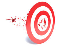 Dart hits a target and hit it Stock Image