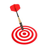 Dart hitting the center aim Stock Photography