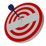 Dart hitting  center target on dartboard Royalty Free Stock Photography