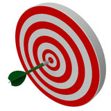 Dart hitting center target on dartboard Royalty Free Stock Photos