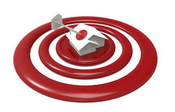 Dart hitting the roof of targeted house Royalty Free Stock Images