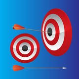 Dart Hitting Target. Dart hitting the bullseye of a red target Stock Photos