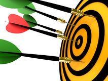 Dart hitting the target. Isolated on a white background Stock Photography