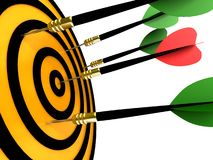 Dart hitting the target. Isolated on a white background vector illustration