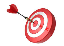 Dart Hitting The Target. Red and white Target and Durts isolated on white. Success Royalty Free Stock Image