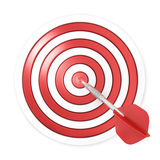 Dart hitting a target, front view. Dart hitting a target, 3d model Isolated on white background, front view Royalty Free Stock Image