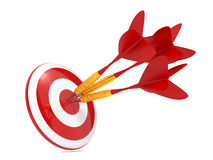Dart Hitting a Target, Isolated On White. Three Red Darts Hitting a Target, Isolated On White Background stock illustration