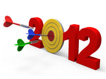 Dart hitting target - New Year 2012. Isolated. Computer generated 3D photo rendering Stock Images