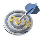Dart hitting target - New Year 2013 Stock Photo