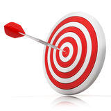 Dart hitting a target, side view. Dart hitting a target, 3d model Isolated on white background, side view Stock Photography