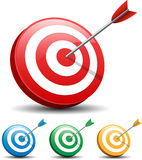 Dart Hitting A Target on white background Stock Photography