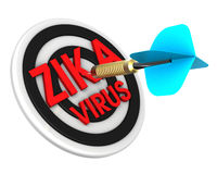 Dart hitting target. Zika in a target concept. Royalty Free Stock Photo