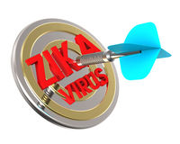 Dart hitting target. Zika in a target concept. Royalty Free Stock Photography