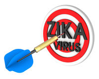 Dart hitting target. Zika in a target concept. Royalty Free Stock Images