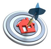Dart on house target. Dart hit the center of house icon isolated on white background. Computer generated 3D photo rendering Stock Image
