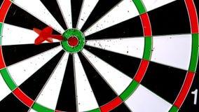 Dart landing a bulls eye stock video