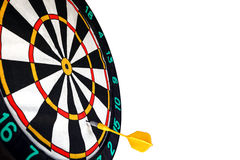 Dart missed the center of the target Darts. Mistake and error royalty free stock photo